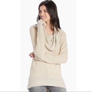 Lucky Brand Tweed Cowl Neck Pullover Sweater